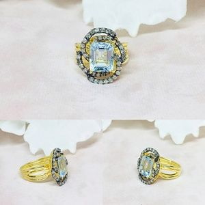 Aquamarine & Diamond Sterling Silver Ring